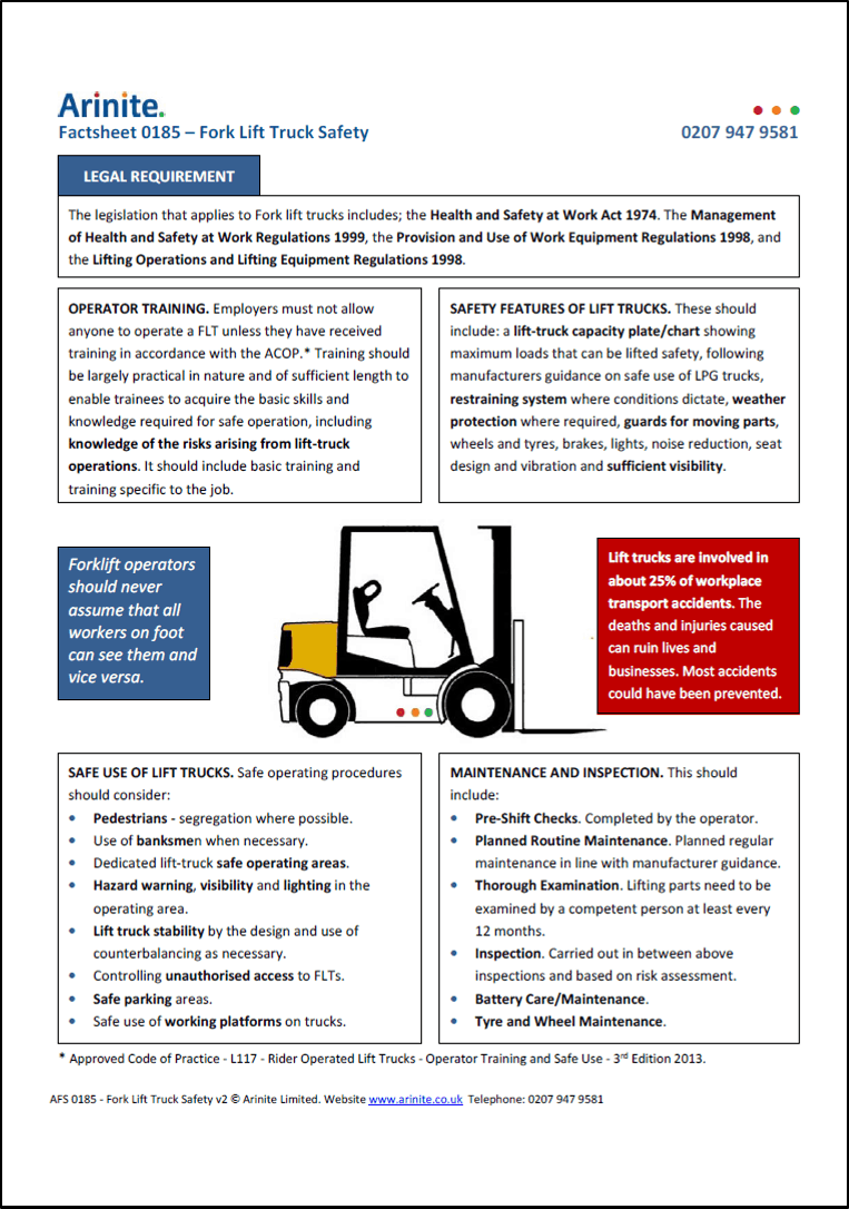 Fork Lift Truck Safety